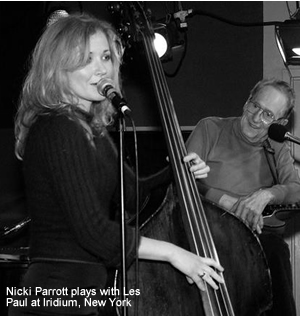 Nicki Parrott playing at Iridium with legendary guitarist Les Paul, New York